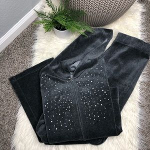 Style & Co | Grey Velour Track Suit Set Bedazzled